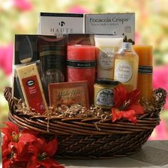 Date Night Anniversary Gift Baskets #valentineday #giftbasket No more excuses, no more stalling, Date Night is just what the doctor ordered. We present an indulgent assortment of romance and snacks to start the date off right. Included are assorted crackers, gourmet cheeses, stainless steel cheese knives, beef summer sausage, honey dipping mustard, aromatherapy candles, relaxation CD, soothing lotion and bubble bath.