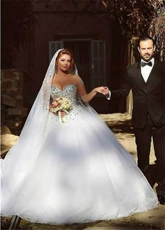 Puffy Ball Gown Illusion Neckline Long Sleeve Tulle Crystal Wedding Dress Corset…