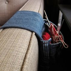 Just Crafty Enough – Iron Craft Challenge – Denim Armrest Project Bag Sewing Tutorials, Sewing Projects, Craft Projects, Upcycling Projects, Craft Tutorials, Sewing Ideas, Craft Ideas, Jean Crafts, Denim Crafts