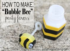 How to transform dollar store wedding bubbles into cute bee party favors
