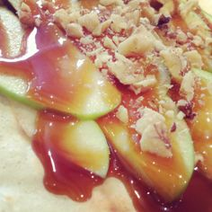 Caramel Apple Crepe. Sliced apples, caramel drizzle, crushed walnuts.