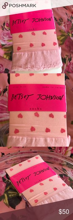 Betsey Johnson pink sheer heart barbie ankle socks Super cute dainty pink sheer pantyhose anklet socks perfect to wear with heels pumps Platforms original by Betsey Johnson Lolita dollbaby candy girl sweetheart sweetie pie tea party Betsey Johnson Accessories Hosiery & Socks