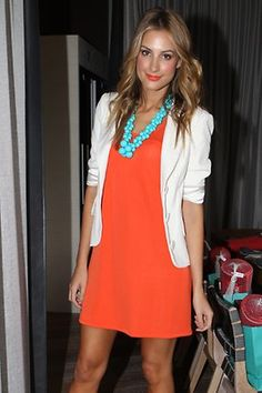 my take - orange cowlneck short-sleeved sweater, white skirt or ankle pants, aqua accessories and maybe pumps?