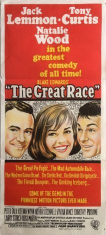 [link] The Great Race is a 1965 American Technicolor slapstick comedy film starring Jack Lemmon, Tony Curtis, and Natalie Wood, directed by Blake Edwards, written by Blake Edwards and Arthur A. Ross, and with music by Henry Mancini and cinematography by Russell Harlan https://en.wikipedia.org/wiki/The_Great_Race (fr=La Grande Course autour du monde)
