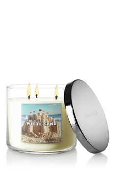 NEW White Sand 3-Wick Candle – sparkling grapefruit and sandalwood, with coconut milk and summer jasmine ♥   #LUVBBW