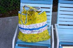 HOW TO INSTRUCTIONS -turn plastic shopping bags into plastic yarn (plarn) and crochet  into another very sturdy bag. Alternate colors to make patterns, alternate crochet patterns to make unlimited bag styles. http://plasticbagbag.com/how.html