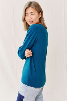 Urban Renewal Remade Overdyed Henley Shirt - Urban Outfitters