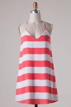 Spaghetti strap stripe color block woven shift dress