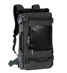 Men's Vintage Canvas backpack Rucksack laptop shoulder travel Camping bag 1091 #Backpack