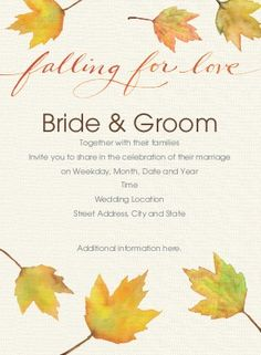 Falling in love ~ all over again.  Great idea for a vow renewal or wedding shower in the fall