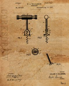 """Title: Vintage Patent Drawing Corkscrew Size: 8"""" x 10"""" (available in larger sizes) Medium: Fine art giclee print on gallery wrapped canvas NOTE: room view shown is of one of the larger canvas sizes. F"""