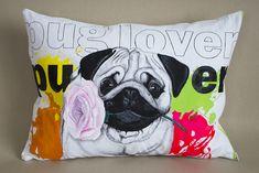 Painted pillow pug lover Pugs, Lovers, Textiles, Throw Pillows, Shirts, Toss Pillows, Cushions, Decorative Pillows, Fabrics