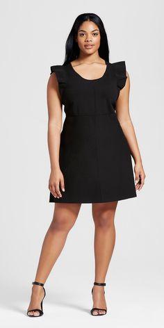 292c5d9e9a96a Plus Size Ruffle Sleeve Sweater Knit Dress - Victoria Beckham for Target  Black Ruffle