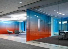 could be a good way to bring in the different colors - maybe to signify different conference rooms? Corporate Interiors, Corporate Design, Office Interiors, Corporate Offices, Commercial Interior Design, Office Interior Design, Commercial Interiors, Glass Design, Wall Design
