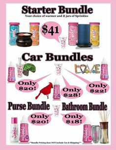 Let me help you get your Pink Zebra fix with a Starter Bundle, Car Bundle, Room Bundle and even Whole House Bundle. Oooooh so many wonderful scents to choose from.