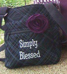 Organizing Shoulder Bag with Flat Plum Rosette! Super cool!