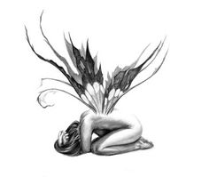 fairy tattoo...I would put this on the bottom of my back with the fairy sitting on a tree trunk