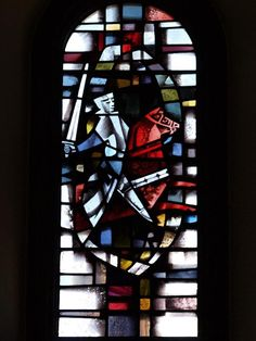 Description: Cambridge, England: Downing College: chapel window, War (Four Horsemen of the Apocalypse) (1962-1963, L.C. Evetts)