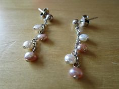 """New Listing Started Sterling Silver faux pearl earrings for pierced ears 1.25""""drop good condition £2.55"""