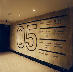 Ace Hotel corridor, London | Universal Design Studio Environmental Graphic Design, Signage Sistems, Interior wayfinding, señaletica para empresas, diseño de locales comerciales Canton Crossing | #Wayfinding | #Signage