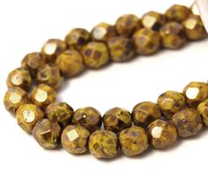 50/pcs Yellow Bronze Picasso 6mm Faceted Czech Beads