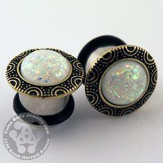 White Opal & Brass Plugs