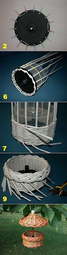 Плетение кормушки для птиц из газет и журналов