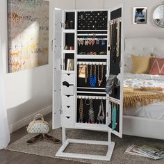 Add a touch of style to your entry, hallway, foyer, bathroom or bedroom by using this Baxton Studio Vittoria Black Wood Jewelry Armoire. Mirror Jewelry Armoire, Jewelry Cabinet, Mirror Jewelry Storage, Shoe Storage, Black Gold Bedroom, Jewellery Storage, Diy Jewelry Organizer, My New Room, Home Organization
