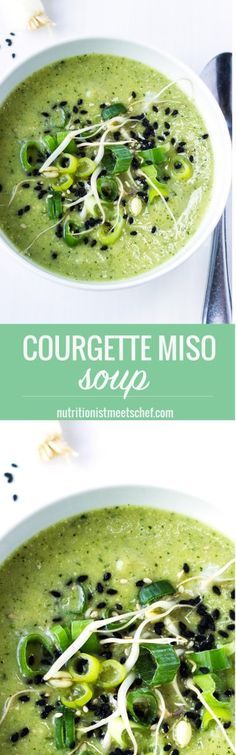 A vegan, gluten free courgette miso soup finished with mung beans, spring onions and a sprinkle of sesame seeds. Vegetarian Recipes Easy, Raw Food Recipes, Lunch Recipes, Soup Recipes, Healthy Recipes, Spicy Recipes, Sweets Recipes, Chili Recipe From Scratch, Best Chili Recipe