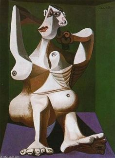 """Woman Styling Her Hair"".Artist: Pablo Picasso Completion Date: 1940 Style: Surrealism Period: Neoclassicist & Surrealist Period Genre: nude painting (nu) Dimensions: 130 x 97 cm. Pablo Picasso Drawings, Art Picasso, Picasso Paintings, Georges Braque, Picasso Blue Period, Art Visage, Guache, Prado, African Art"