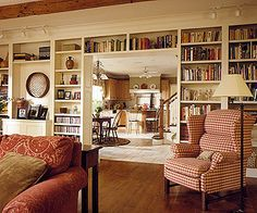 Built in bookshelves are a must in my future home. I would love a big library.