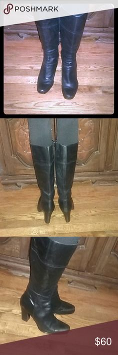 Nine West Boots Genuine leather below the knees, 3.5 heels, cute clean and undamage Nine West Shoes Heeled Boots