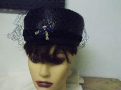 Vintage Navy Blue w/ Netting Ladies Pillbox Style Hat Union Label USA Made
