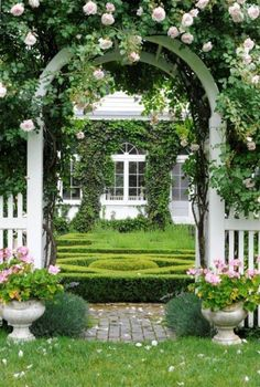 You can never go wrong with this classic formula... white picket fence, arbor, rose, symmetry, clipped box hedges, and pink geraniums in pots.