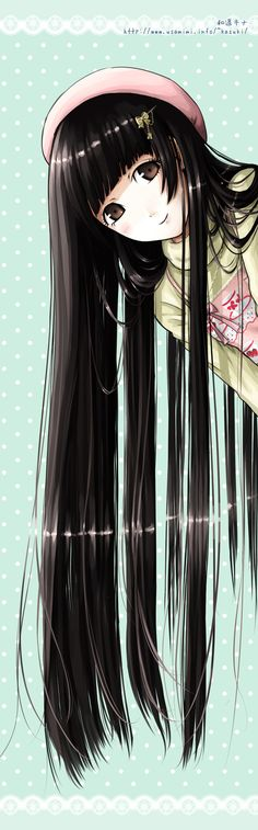 """Looooong, Straight, Black Hair with Straight Bangs"" original illustration by Kazuharu Kina"