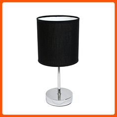 Simple Designs LT2007-BLK Chrome Mini Basic Table Lamp with Fabric Shade, Black - Unique lighting lamps (*Amazon Partner-Link)