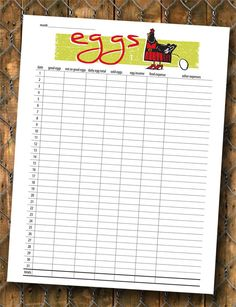 Printable Chicken Egg Production Chart by BowWowCreative on Etsy, $3.75