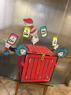 Suess food drive box, had an awesome time doing this! Food Bank Donations, Food Drive Flyer, Donation Boxes, Canned Food Drive, Toys For Tots, Work Meals, Student Council, Dr Suess, Dr. Seuss