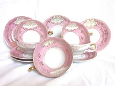 Pink Tea Cups Saucers Gold Details Wedding Bridesmaids Tea Party Gift Cottage Decor Set of 5