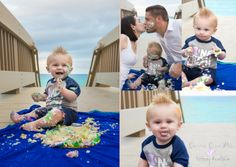 1st Birthday Photoshoot session, Cake Smash on the Beach, Cakesmash, Photography by CrystalClearPics - Tiffany Hertzon. Highland Beach, Florida at Red Reef Park.