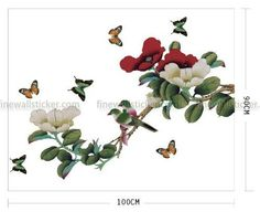Colorful Flower Tree And Butterflies Wall Sticker
