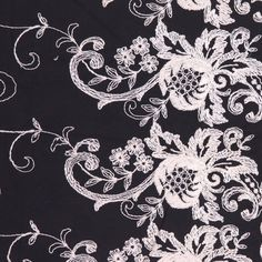 Black/Natural Floral Embr & Eyelet Fabric by the Yard | Mood Fabrics