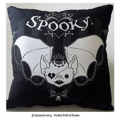 Spooky Cute Bat Design Large Throw Pillow Soft Black Dot by Posiez