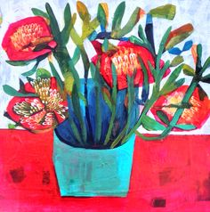red posy by este macleod Art And Illustration, Illustrations, Painting Courses, Plant Art, Still Life Art, Painting Inspiration, Collage Art, New Art, Flower Art