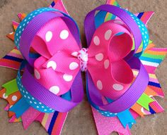 Items similar to SPRING SUMMER Hair Bow Birthday Party bow in pink, purple, and aqua. Great for a birthday party or for going on a little girls play date. Baby Girl Hair Bows, Girls Bows, Baby Bows, Ribbon Hair Bows, Bow Hair Clips, Ribbon Flower, Fabric Flowers, Hair Bow Tutorial, Headband Tutorial