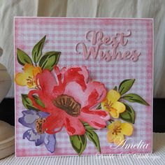 Summer Flowers, Summer Colors, Tim Holtz Distress Ink, Pink Cards, Watercolor Effects, Pink Gingham, I Love Reading, Different Flowers, Something Beautiful