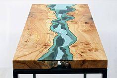 Móveis com rios de vidro - Ideagrid