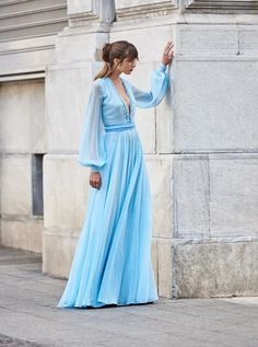 Costarellos Spring Summer 2018 Collection<br />SS18-11<br />'V' Neck Long Airy Dress with Bishop Sleeves, Baby Blue