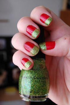 Christmas nail art. I love this green.