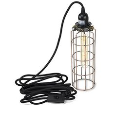 Pendant Lighting by Rustic State - With Industrial Style Long Cage for Authentic Vintage Lights - Includes 15 feet Plug-in Cord with Toggle Switch and One Tube Edison Bulb (Oil Robbed) Vintage Lighting, Cool Lighting, Lighting Ideas, Pendant Lamp, Pendant Lighting, Diy Light Fixtures, Kitchen Pendants, Hanging Pendants, Industrial Style